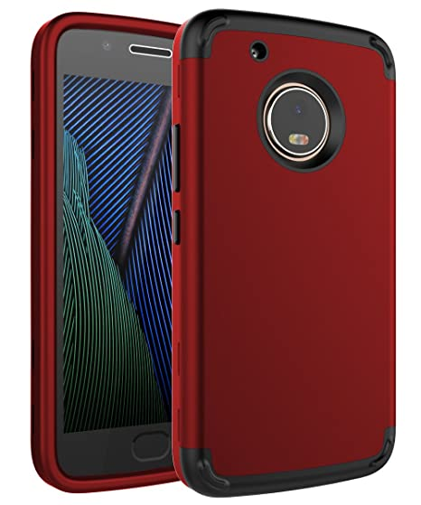 separation shoes d523f cdffc Moto G5 Plus Case,SKYLMW Three Layer Heavy Duty High Impact Resistant  Hybrid Protective Cover Case for Moto G Plus (5th Generation),Red/Black