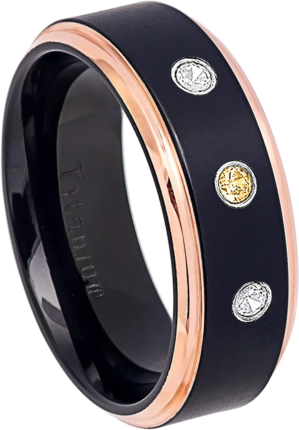 0.21ctw Citrine /& Diamond 3-Stone Titanium Ring 8MM Black Ion Plated /& Rose Gold Plated Stepped Edge Comfort Fit Wedding Band