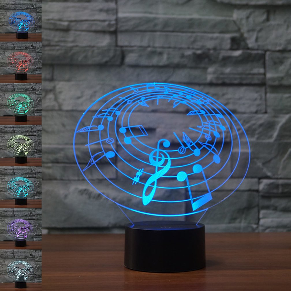 Note 3D Illusion Birthday Gift Lamp, Gawell 7 Color Changing Touch Switch Table Desk Decoration Lamps Mother's Day Present with Acrylic Flat & ABS Base & USB Cable Toy for Music Theme Lover