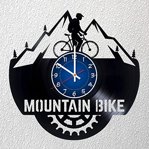 Mountain Bike Art 12 inches 30 cm Vinyl Record Wall Clock Sport Gift Moto Clock Men Room Decor Idea Sport Rider Home Art Party Frodo Baggins Art Christmas Bike