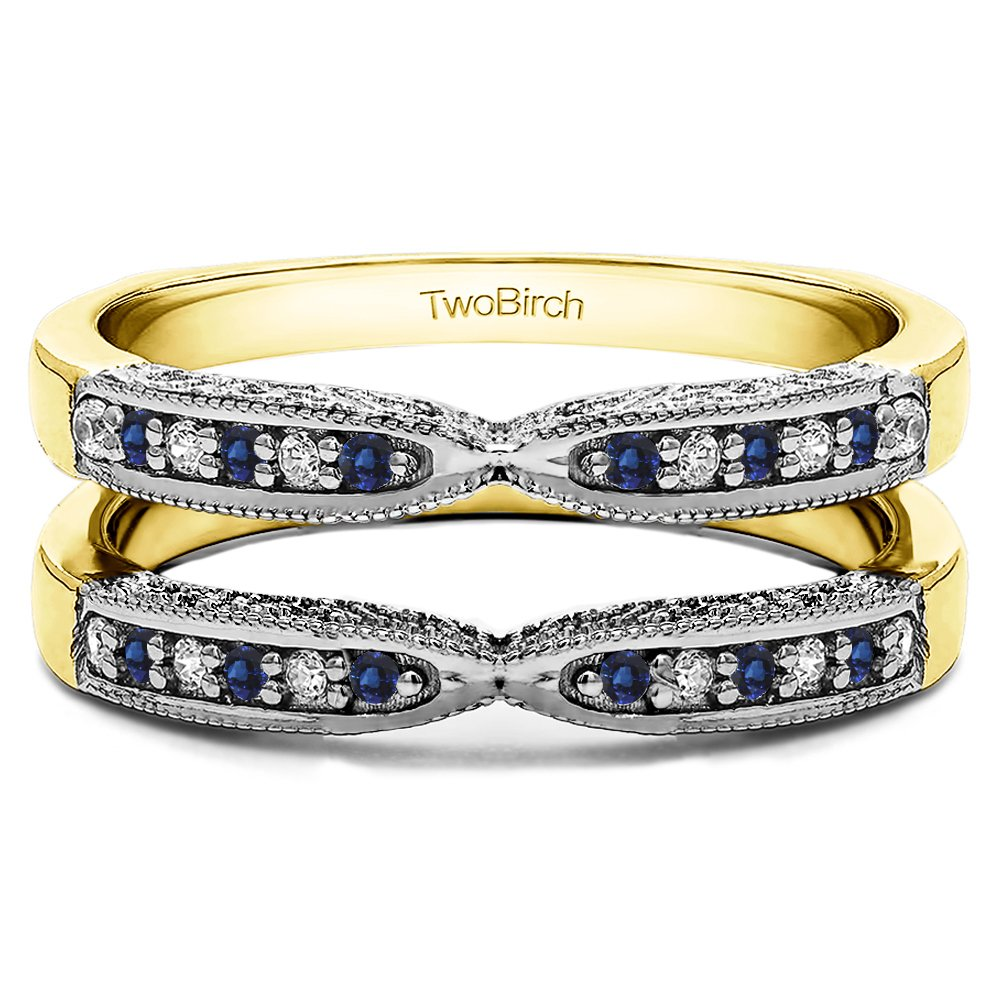 TwoBirch 0.24 Ct. X Design Ring Guard with Millgrain and Filigree Detailingin Two-Tone Sterling Silver With Diamonds (G,I2) and Sapphire (Size 6.5) by TwoBirch