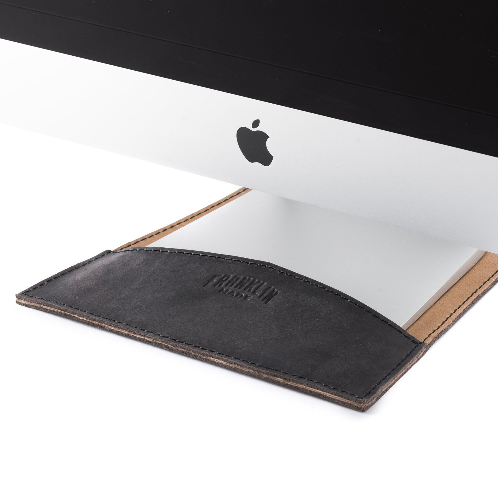 100% Full Grain Black Leather 4 Piece 27'' Apple Computer Desktop Set - Made in USA by Franklin Made (Image #2)