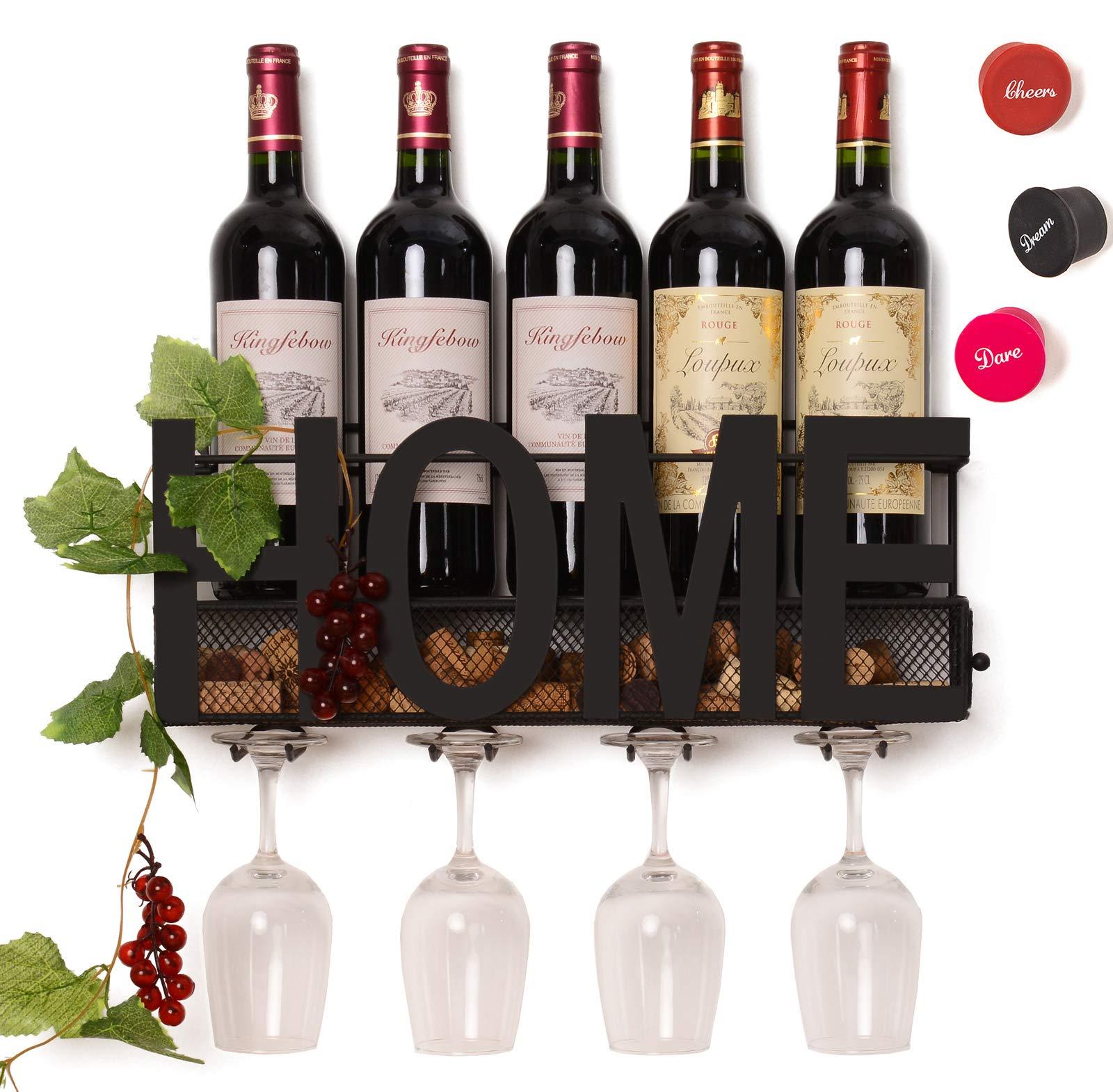 SODUKU Wall Mounted Metal Wine Rack 4 Long Stem Glass Holder & Wine Cork Storage by SODUKU