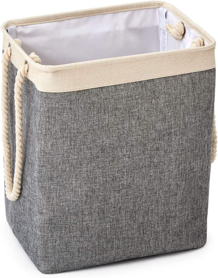 EZOWare 65L Laundry Hamper Basket with Extra Long Cotton Rope Handles- Storage Bin for Clothes & Toys- Gray/Cream