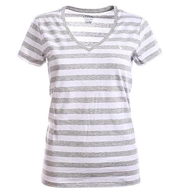 1a52866e88f961 Ralph Lauren Polo Damen V-Neck Shirt T-Shirt Grau-Weiß Gestreift Größe