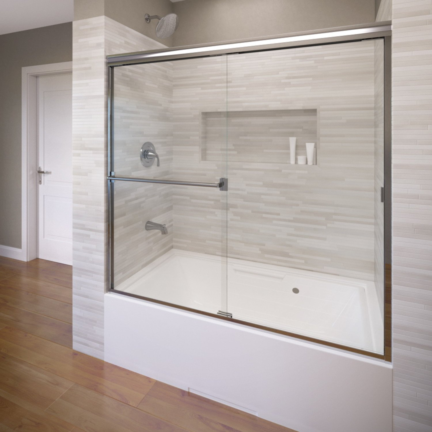 Basco Classic Semi-Frameless Sliding Tub Door, Fits 56-60 inch opening, Clear Glass, Silver Finish