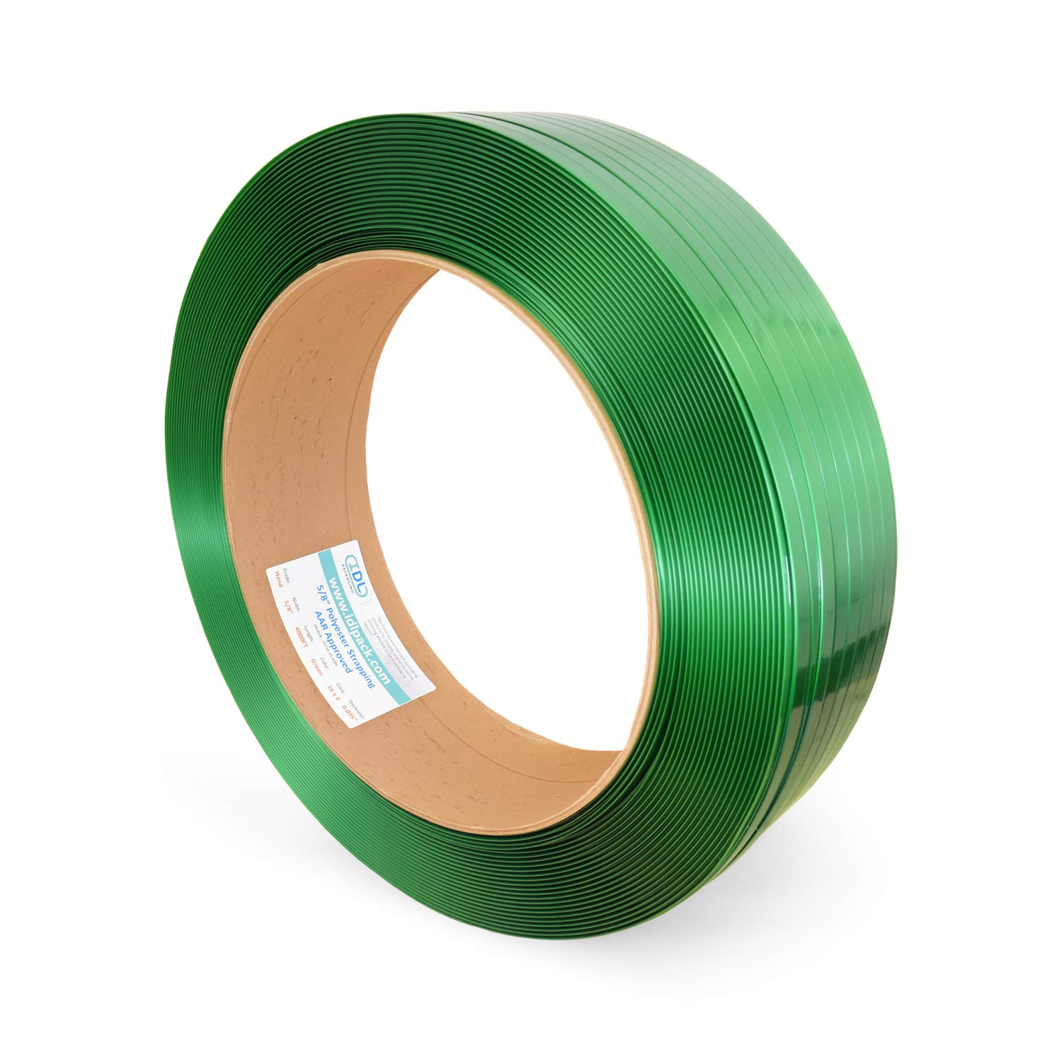 IDL Packaging 5/8'' x 0.035'' Polyester (PET) Strapping, 4000' Length, 1400 lbs Break Strength, Green