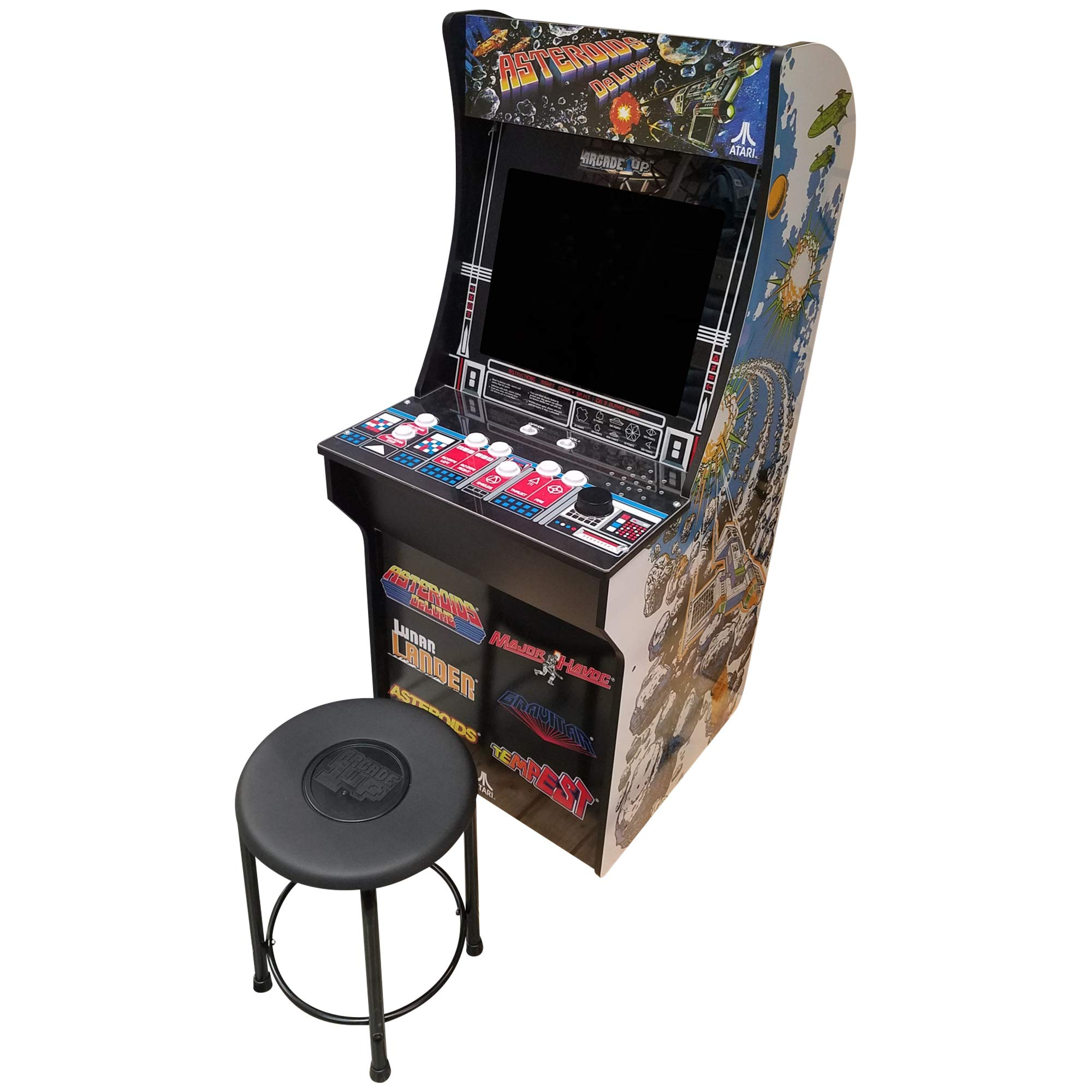 Creative Arcades 6 in 1 Atari Cabinet Arcade 1Up Machine for Home | 6 Classic Games Pre-Installed | Plug and Play - Fully Assembled | 1 - 2 Player | Stool Included | 17'' Screen | Coinless Operation