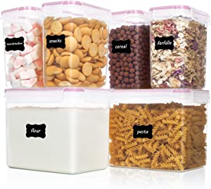 Vtopmart Airtight Food Storage Containers 6 Pieces - Plastic PBA Free Kitchen Pantry Storage Containers for Sugar,Flour and Baking Supplies - Dishwasher Safe - Include 24 Labels, Pink