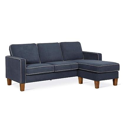 Novogratz DA036SEC-BL Bowen Sectional Contrast Welting, Blue Sofa