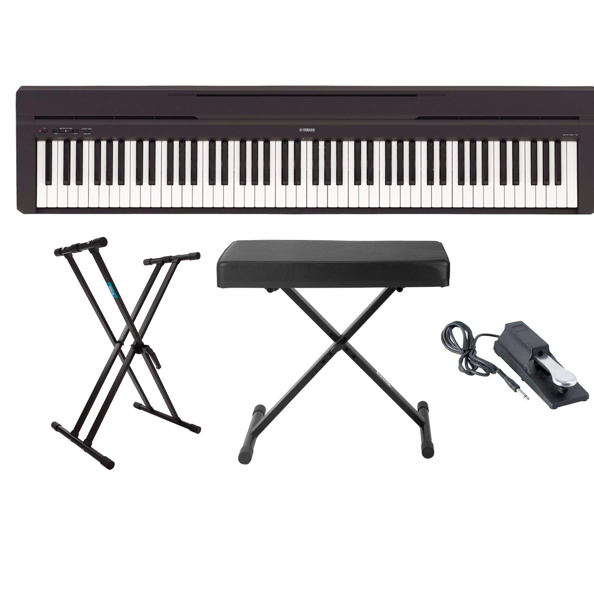 Yamaha P45B 88-Key Digital Piano with Knox Gear Keyboard Stand, Adjustable Bench and Sustain Pedal by YAMAHA