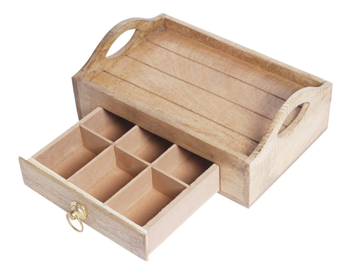 Wooden Tea Bag Storage Chest Box with Tray Handle for Condiment Spice Vintage Rustic Kitchen Organizer with 8 Compartments