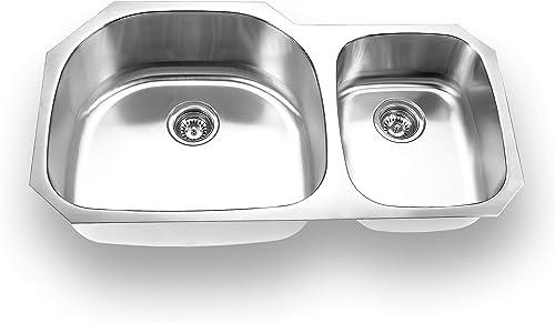 Yosemite Home Decor MAG3720 18-Gauge Stainless Steel Undermount Double Bowl Kitchen Sink
