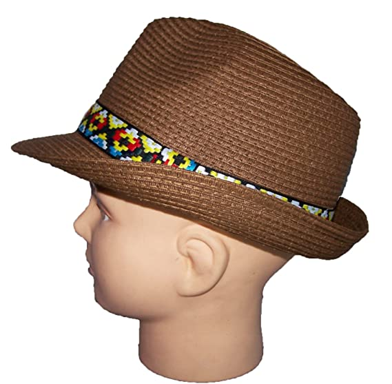 7bc3561ab11 Fedora Trilby Hats For Adults With Native American Pattern Bands Brown (  FedHat84 Z) (