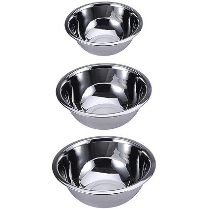 Renberg Set de 3 bols para Mezclas en Acero Inoxidable, diámetro de 16, 20 y 24 cm