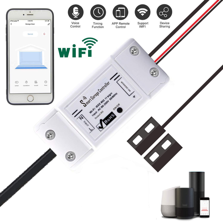 Garage Door Opener App >> Smart Wifi Remote Compatible Garage Door Opener App Control Using Smart Phone Amazon Alexa Googlehome Assistant Ifttt Enabled Devices White