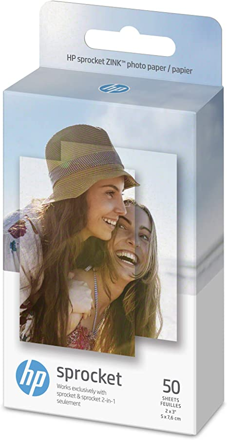 HP Sprocket Photo Paper, Exclusively for HP Sprocket Portable Photo Printer, (2x3-inch), Sticky-Backed 50 Sheets