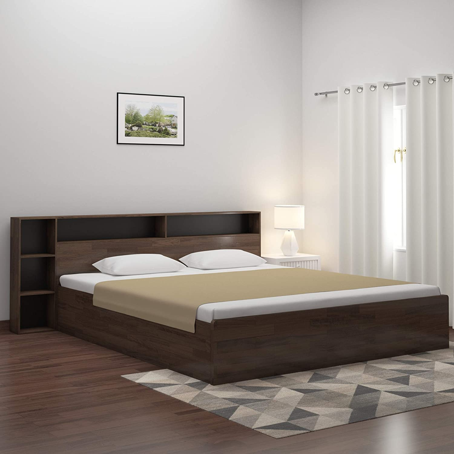 Home By Nilkamal Torrie King Size Engineered Wood Bed With Box Storage Particle Board Black Amazon In Electronics