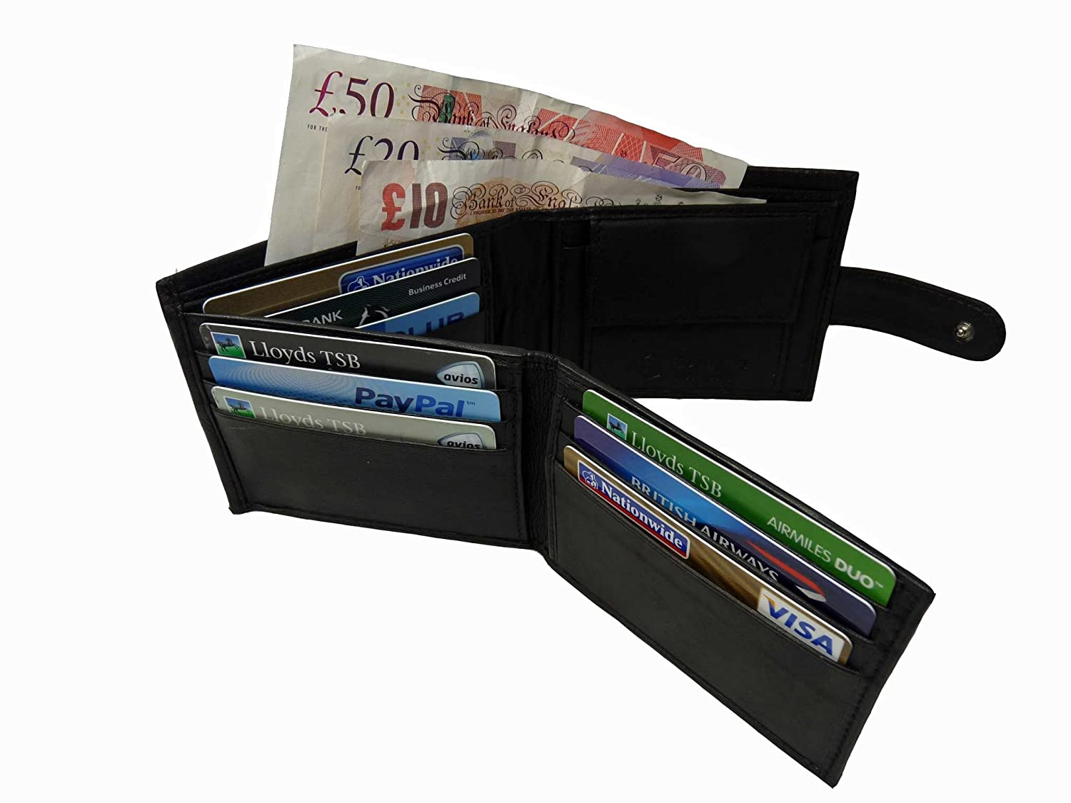 Mens Mans Leather Wallets Credit Card Wallets 9 Credit Cards