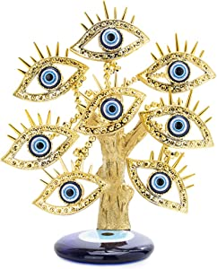 YU FENG Golden Turkish Evil Eyes Tree with Blue Evil Eye Base for Home Decor Luck Gift