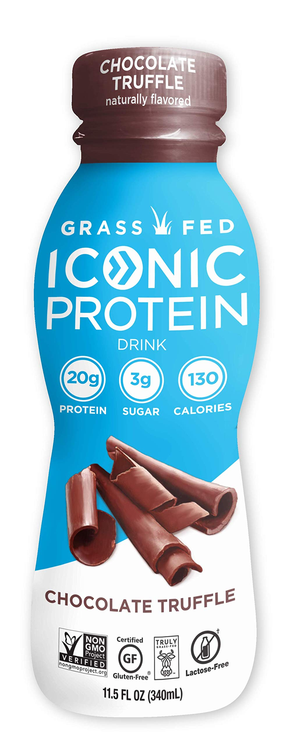 Iconic Protein Drinks, Chocolate Truffle (12 Pack) | Low Carb Protein Shakes | Grass Fed, Lactose Free, Gluten Free, Non-GMO, Kosher | High Protein Drink | Keto Friendly by ICONIC