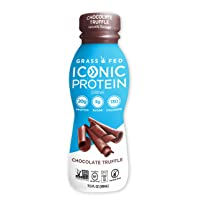 Iconic Protein Drinks, Chocolate Truffle (12 Pack) | Low Carb Protein Shakes | Grass...