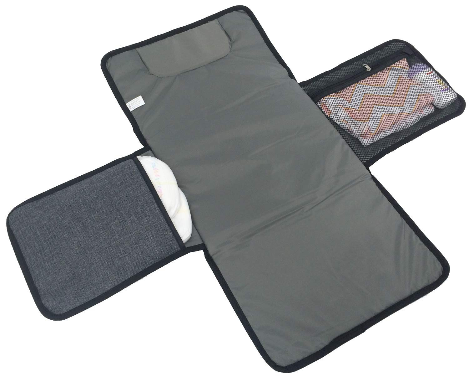 Baby Changing Pad Portable Travel Station Kit for Infant Diapering - Lightweight and Waterproof Diaper Clutch, Extra Long Mat with Pockets - Padded Head Cushion (Gray) YINTZ