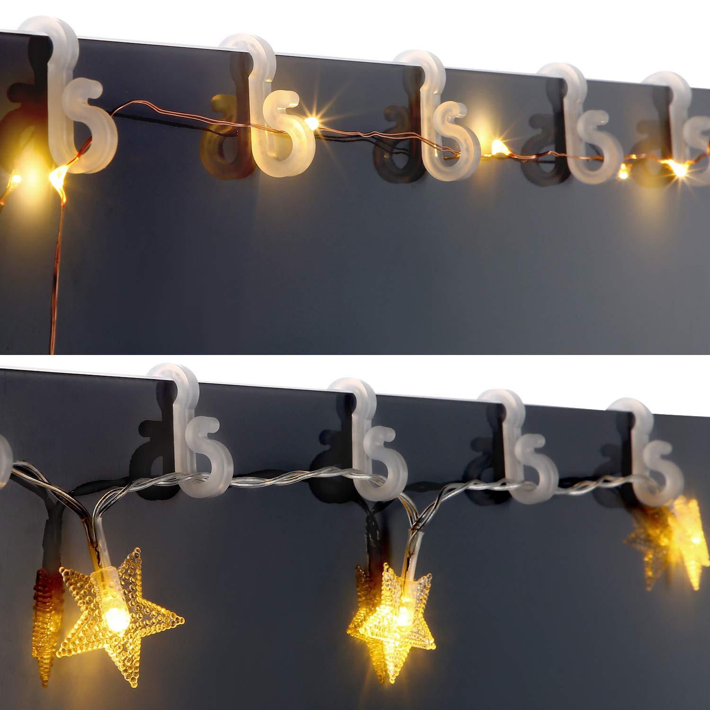 120 Sumind Gutter Hangers S Clips Weatherproof Plastic Clips for Outdoor Rope Lights