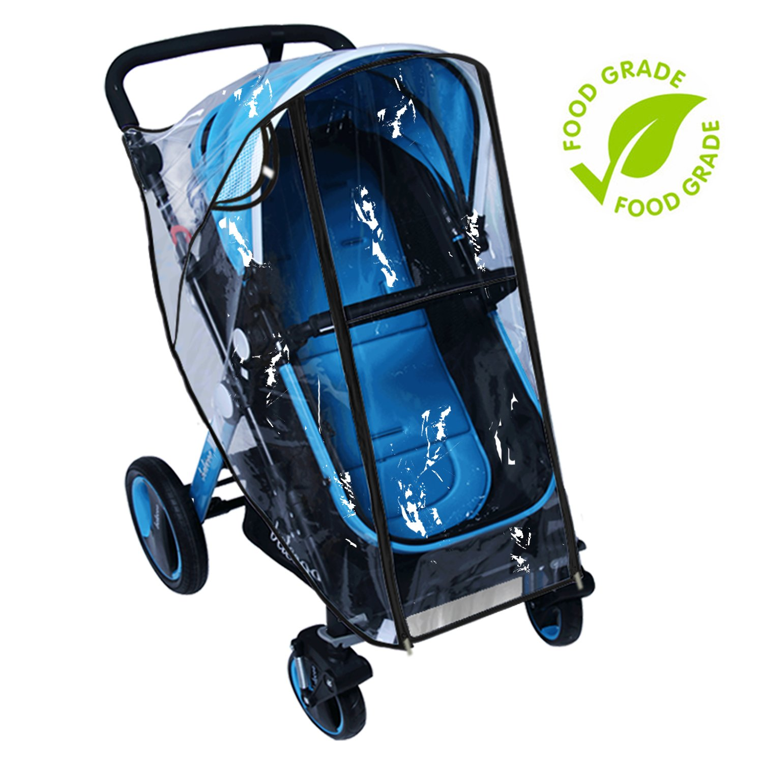 Baby Stroller Rain Cover Weather Shield Accessories Universal Size Protect from Rain Wind Snow Dust Insects Water Proof Ventilate Clear Food Grade Materia EVA Plastic Zipper Black White (black, large)