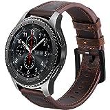 iBazal Gear S3 Bracelet, Gear S3 Frontier/Classic Bracelet de Montre 22mm Vintage Véritable Bracelet Cuir pour Samsung Gear S3 Frontier/Classic SM-R760, Samsung Galaxy Watch 46mm - Café/Noir