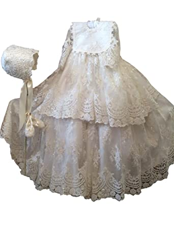 Amazon.com: Aorme Ivory Lace Beading Christening Dresses for Girls ...