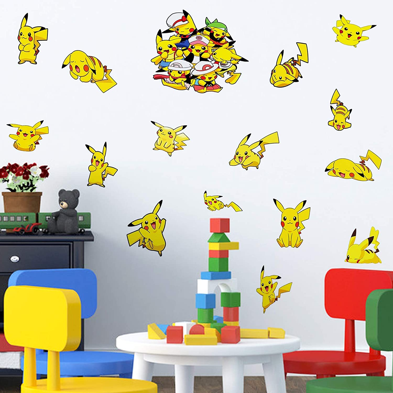 Pokemon_Wall Decals Japanese Cartoon Pikachu Stickers for Wall Pocket Cute Monsters Boys Room Decor Art 16x24 Inches