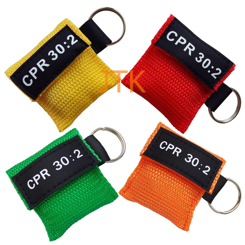 Elysaid 100pcs CPR Mask with Keychain CPR Face Shield for Aed First Aid Training Pocket Size 4 Colors by ELYSAID