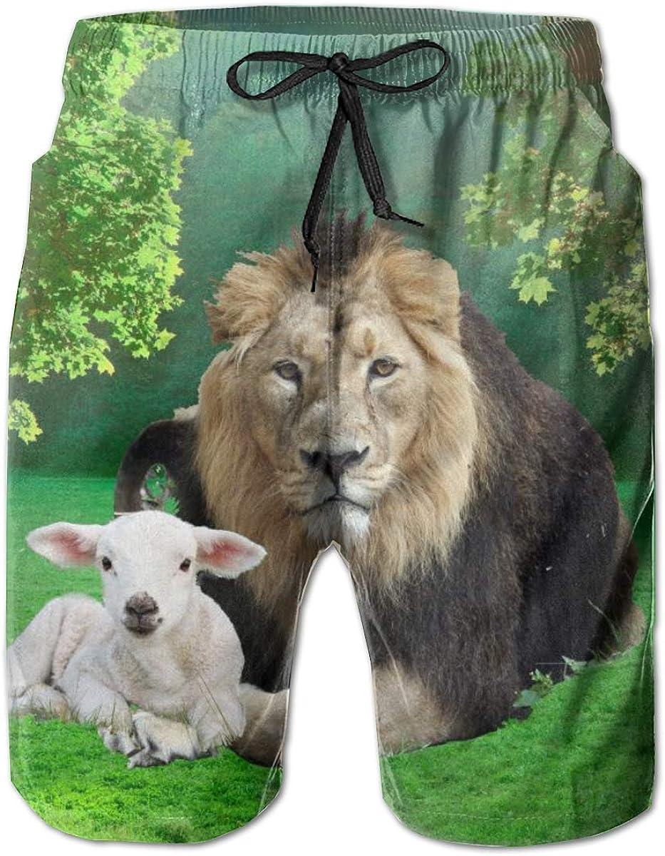 Mens Swim Trunks with Mesh Lining Pockets Lion with Lamb Beautiful Boys Polyester Board Shorts Swimwear