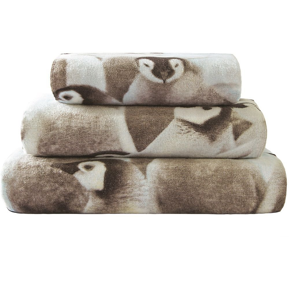 Catherine Lansfield Penguin Colony Cotton Hand Towel Multi Turner Bianca TWB3-6674-WHT-Mult