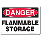 "Danger Flammable Storage Sign - 10""x14"" - .040 Rust Free Aluminum - Made in USA - UV Protected and Weatherproof - A82-109AL"