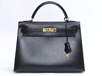 88500a33bf0d  エルメス  HERMES ケリー32 外縫い ハンドバッグ ブラック(金具:ゴールド) ボックス