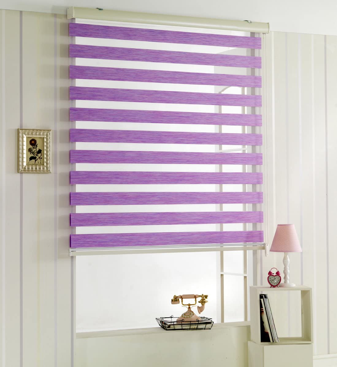 Custom Cut to Size, Winsharp Woodlook 107, Violet, W 24 x H 103 inch Zebra Roller Blinds, Dual Layer Shades, Sheer or Privacy Light Control, Day and Night Window Drapes, 20 to 110 inch wide