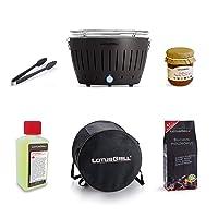 Lotusgrill Holzkohlegrill schwarz Edelstahl Stahl Kunststoff klein Charcoal Grill Camping Balkon Picknick ✔ rund ✔ tragbar rauchfrei ✔ Grillen mit Holzkohle ✔ für den Tisch