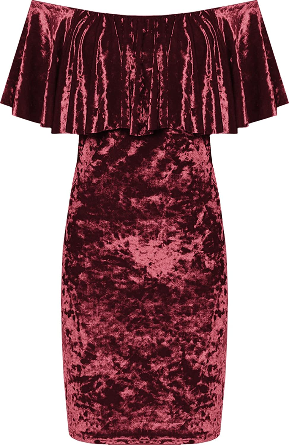 Funky Fashion Womens Crushed Velour Party Dress Tiered Off Shoulder Bardot Velvet Plus Size 14-28