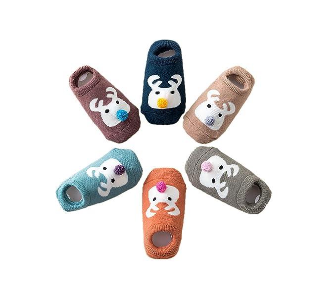 Estwell 6 Pares Calcetines Bebé Antideslizante Infantil Niños Niñas Invierno Grueso Calcetines Animados: Amazon.es: Ropa y accesorios