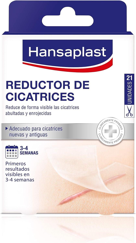 Hansaplast Reductor de cicatrices, apósito transparente, ayuda a que las cicatrices sean más planas, suaves y ligeras, tiritas cicatrizantes, 1 x 21 ud (3,8 cm x 6,8 cm)