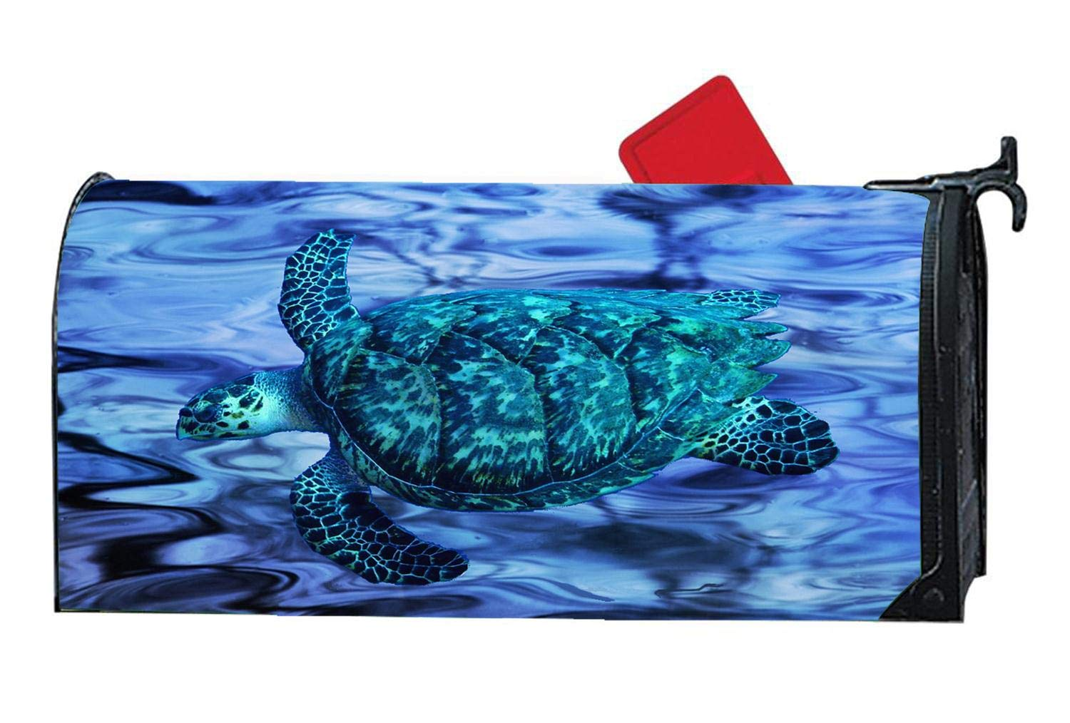 Popular Mailbox Cover Magnetic, Personalized Turtle MailWrap Mailbox Makeover Cover - Vinyl with Full Magnet on Backside - Cosmic Blue Turtle Abstract