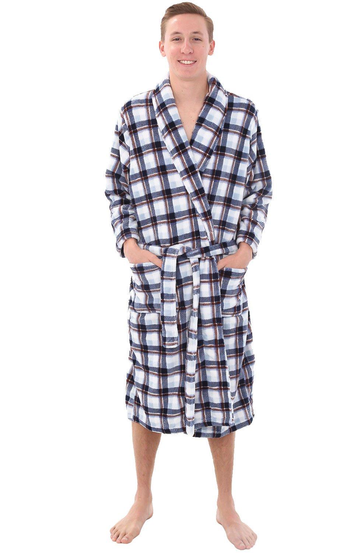 Alexander Del Rossa Mens Fleece Robe, Shawl Collar Bathrobe, Small Medium White Grey and Brown Plaid (A0114R74MD)