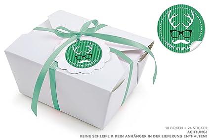 10 cajas blancas + 24 pegatinas hipster gafas de ciervo verdes y ...