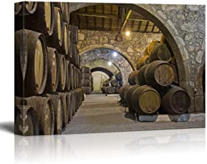 """wall26 - Canvas Prints Wall Art - Cellar with Wine Barrels 