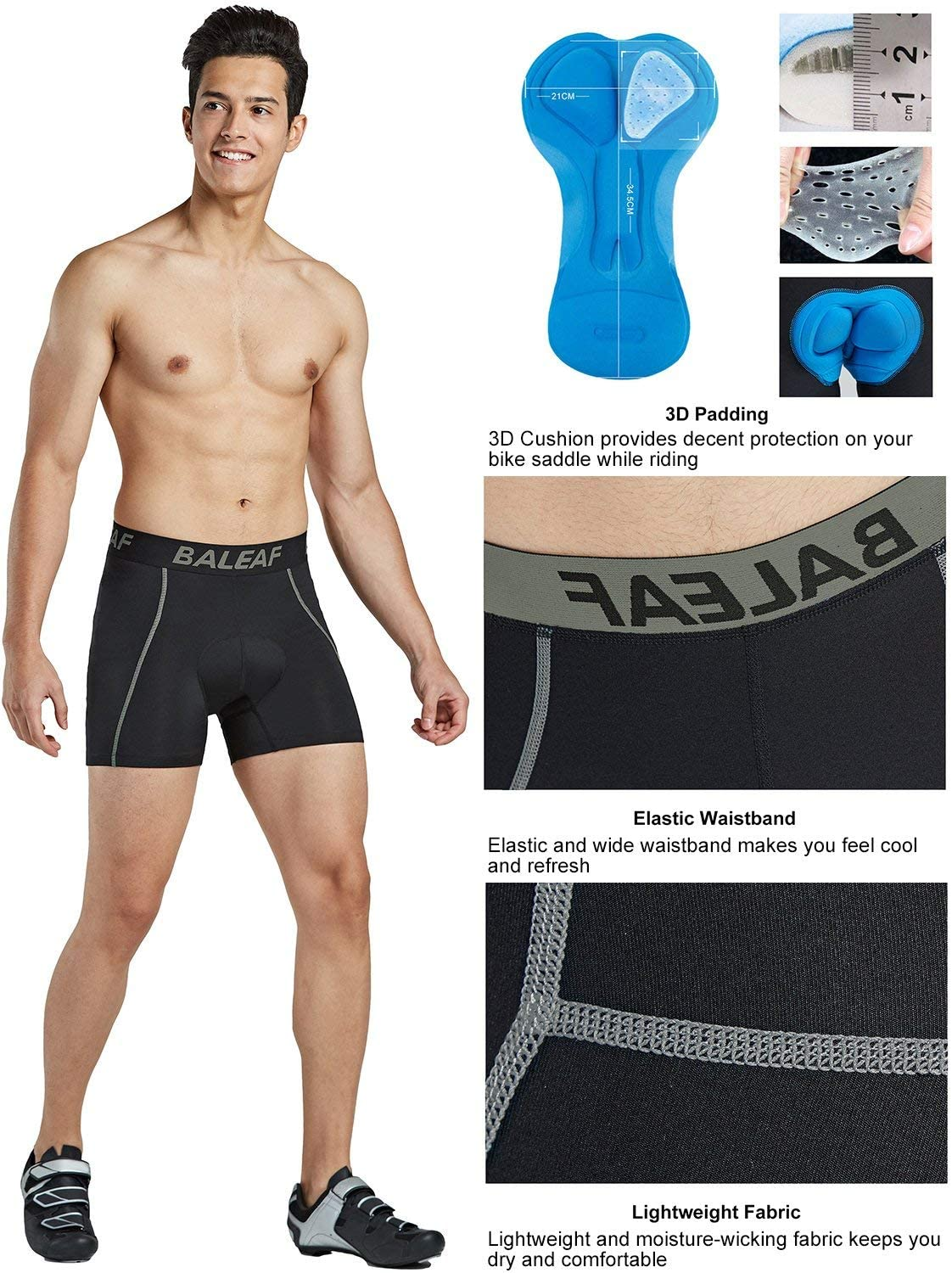 Culotte Homme BALEAF 3D Padded Cool Max Bicycle