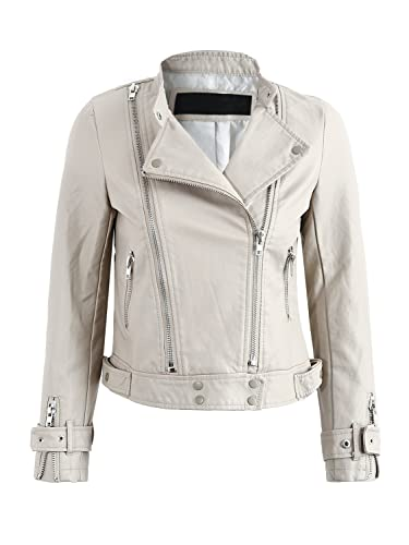 Simplee Apparel Women 's Faux Leather Slim Fit solapa cremallera biker jacket Outwear