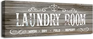 Laundry Sign Laundry Room Decor and Accessories, Laundry Room Sign Canvas Wall Art Decorative Vintage Rustic Wall Decor Picture Home Artwork Wood Framed Wall Art Easy to Hang 1 Piece Size 6x16inches