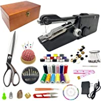 Handheld Sewing Device, Portable Hand Sewing Machine, Wooden Sewing Box with 143 Pcs Sewing Kit Supplies, Mini Sewing…